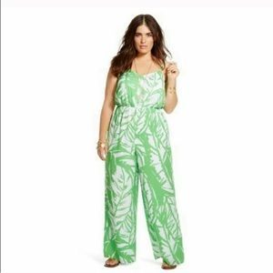 Lilly Pulitzer Green and White Jumpsuit - EUC